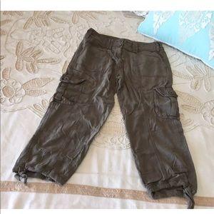 Anthropologie Hei 4 silk cargo olive Capri pants